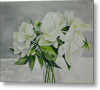 Graceful Peonies Metal Print
