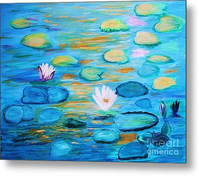 Metal Print featuring the painting Graceful Pond From The Water Series by Donna Dixon