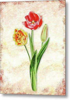 Graceful Watercolor Tulips Metal Print