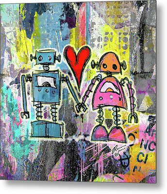Graffiti Pop Robot Love Metal Print by Roseanne Jones