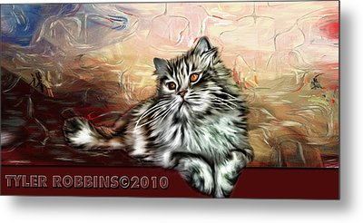Metal Print featuring the painting Grafitti Kitty by Tyler Robbins