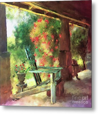 Metal Print featuring the digital art Gramma's Front Porch by Lois Bryan