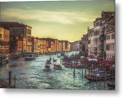 Grand Canal As The Sun Is Setting Metal Print by Chris Fletcher
