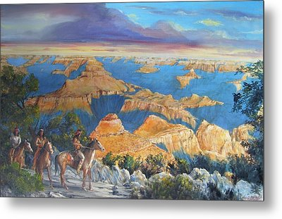 Grand Canyon Visitors At Sunrise Metal Print