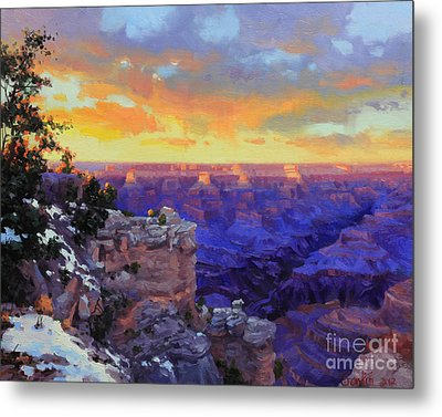 Grand Canyon Winter Sunset Metal Print by Gary Kim