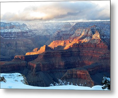 Grand Canyon With Snow Metal Print by Laurel Powell