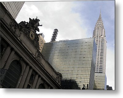 Grand Central And The Chrysler Building Metal Print by Michael Dorn
