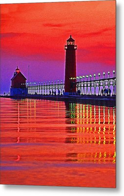 Grand Haven Lighthouse Metal Print by Dennis Cox