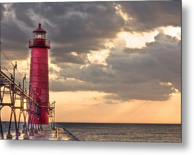 Grand Haven Lighthouse Hdr Metal Print by Jeramie Curtice