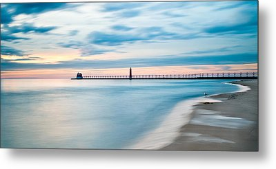 Grand Haven Pier - Smooth Waters Metal Print
