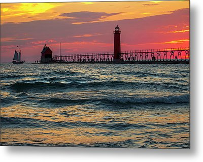 Grand Haven Pier Sail Metal Print