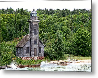 Grand Island East Channel Lighthouse #6680 Metal Print by Mark J Seefeldt