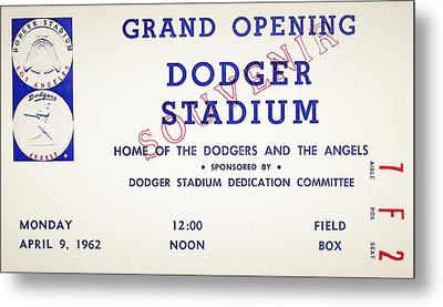 Grand Opening Dodger Stadium Ticket Stub 1962 Metal Print by Bill Cannon