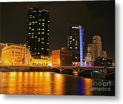 Grand Rapids Mi Under The Lights-2 Metal Print by Robert Pearson