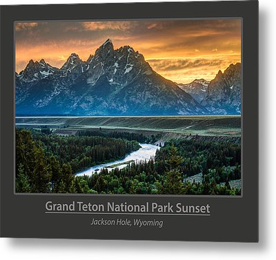 Grand Teton National Park Sunset Poster Metal Print by Gary Whitton