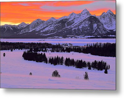 Grand Teton Winter Sunset Metal Print by Stephen  Vecchiotti