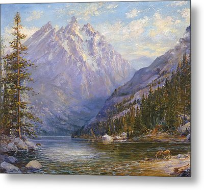 Grand Tetons And Jenny Lake Tryptych Center Metal Print by Lewis A Ramsey