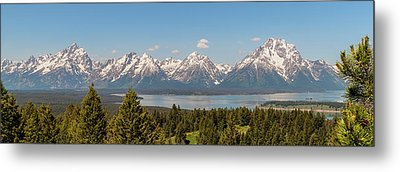 Grand Tetons Over Jackson Lake Panorama Metal Print by Brian Harig