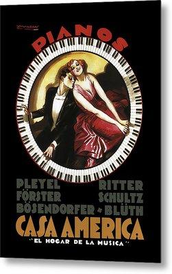 Grandest Pianos At Casa America  1930 Metal Print