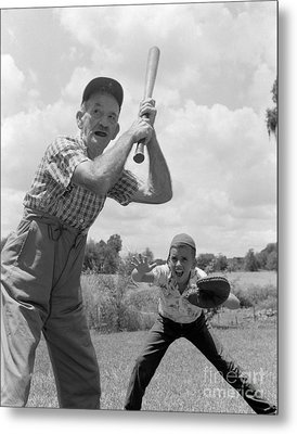Grandfather At Bat With Boy As Catcher Metal Print