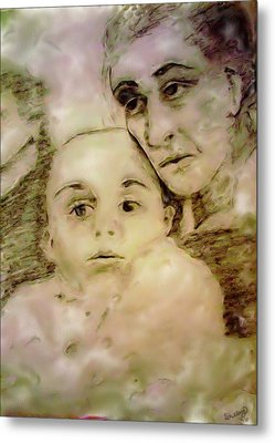 Metal Print featuring the drawing Grandmas Baby by Shelley Bain