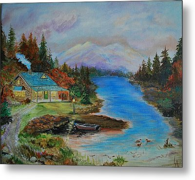 Metal Print featuring the painting Grandmas Cabin by Leslie Allen