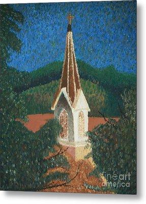 Metal Print featuring the painting Grandmas Church by Jacqueline Athmann