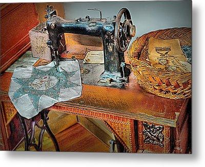 Grandma's Sewing Machine Metal Print