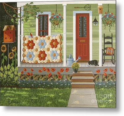 Grandmother's Flower Garden Metal Print by Mary Charles