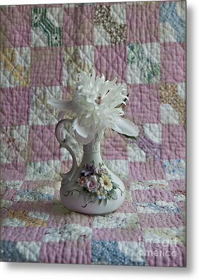 Grandmother's Vase And Her Son's Quilt Metal Print