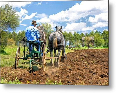 Grandpa At The Plow At Old World Wisconsin Metal Print by Christopher Arndt