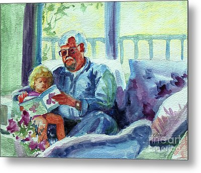 Grandpa Reading Metal Print by Kathy Braud