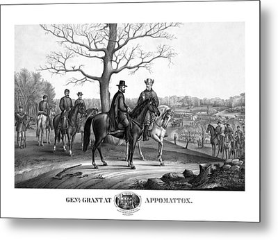 Metal Print featuring the mixed media Grant And Lee At Appomattox by War Is Hell Store