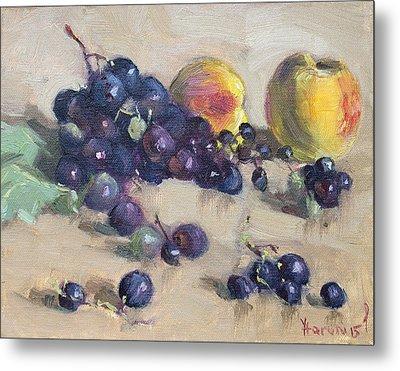 Grape And Peach Metal Print by Ylli Haruni