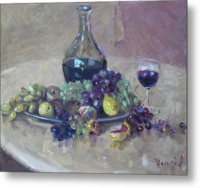 Grape And Wine Metal Print