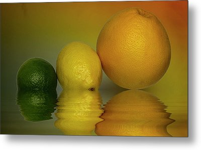 Metal Print featuring the photograph Grapefruit Lemon And Lime Citrus Fruit by David French