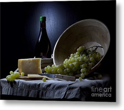 Grapes And Cheese Metal Print by Irina No