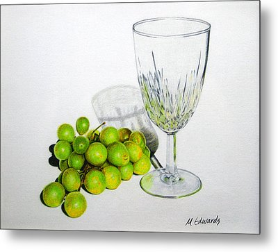 Grapes And Crystal Metal Print by Marna Edwards Flavell