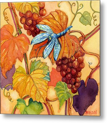 Grapes And Dragonfly Metal Print by Peggy Wilson