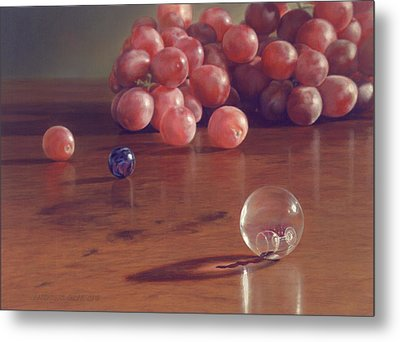 Grapes And Marbles Metal Print by Barbara Groff