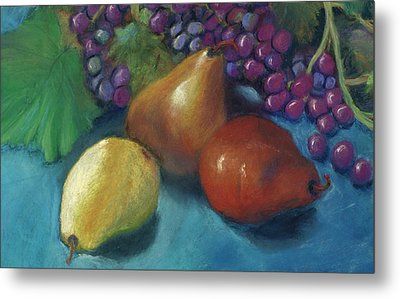 Metal Print featuring the pastel Grapes And Pears 2 Pastel by Antonia Citrino
