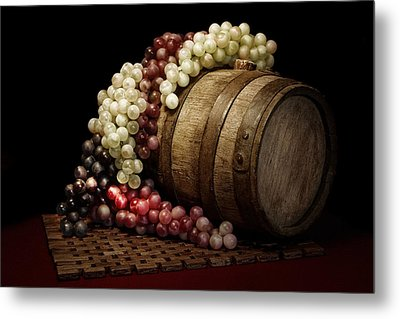 Grapes And Wine Barrel Metal Print by Tom Mc Nemar