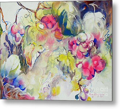 Metal Print featuring the painting Grapes In Season by Mary Haley-Rocks