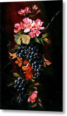Grapes With Wild Roses Metal Print