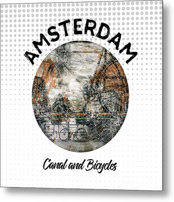Graphic Art Amsterdam Canal And Bicycles Metal Print