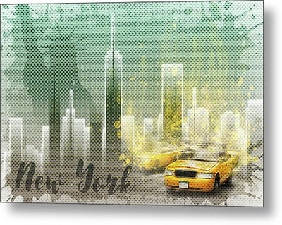 Graphic Art New York Mix No 6 - Green And Yellow Metal Print