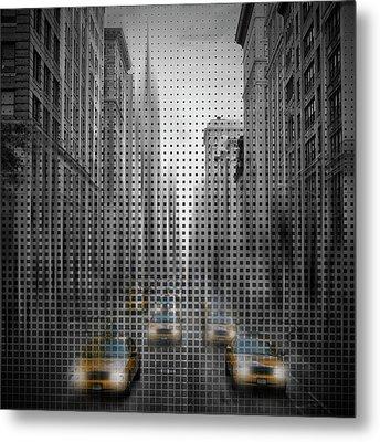 Graphic Art Nyc 5th Avenue Traffic II Metal Print by Melanie Viola