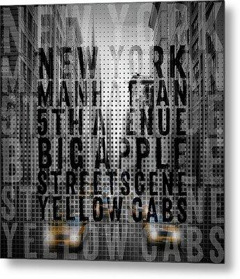 Graphic Art Nyc 5th Avenue Traffic II Typography Metal Print by Melanie Viola