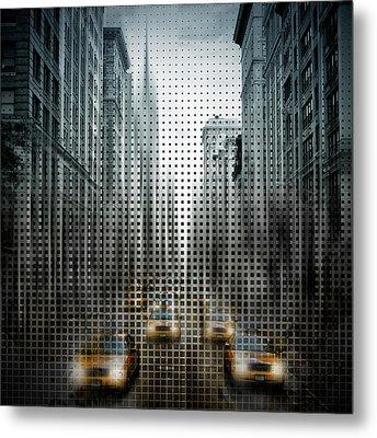 Graphic Art Nyc 5th Avenue Traffic V Metal Print by Melanie Viola