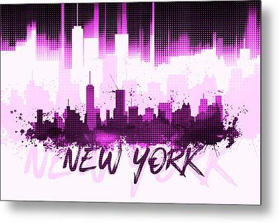 Graphic Art Nyc Skyline II - Pink Metal Print by Melanie Viola